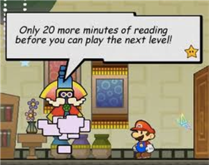Mario has to read to get to the next level.