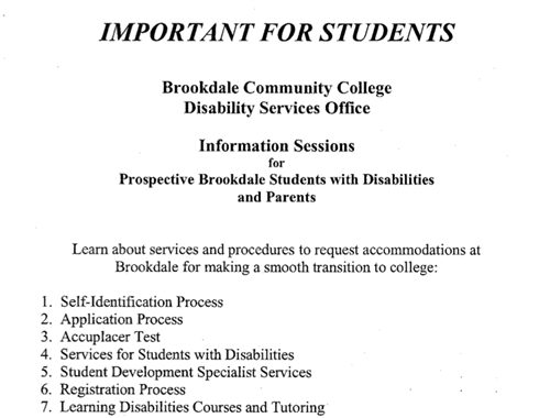 Information for Disability Services at Brookdale