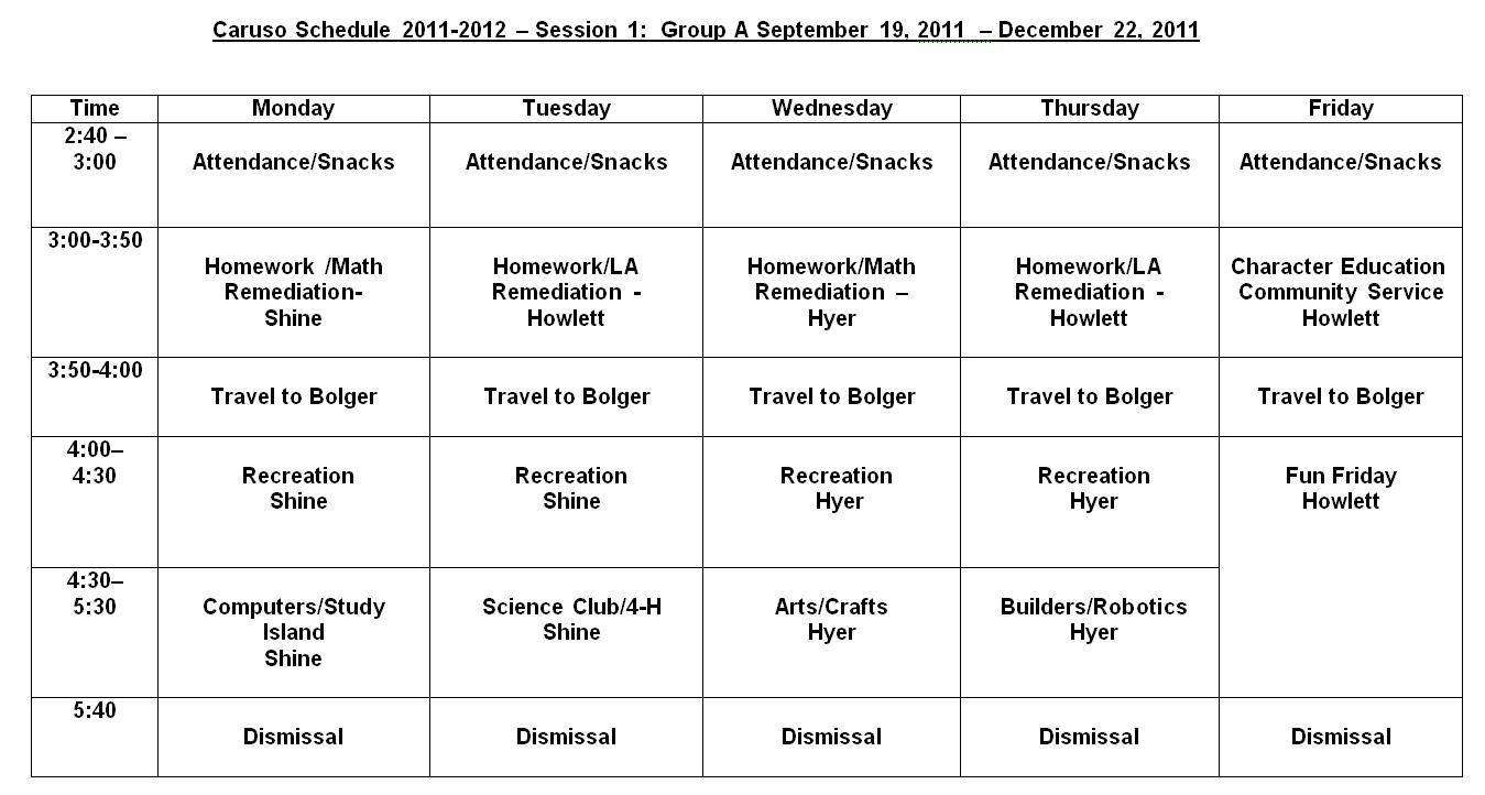 21st cclc afterschool program    program schedule  caruso